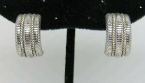 Retired Judith Ripka Sterling Silver Rope Huggie / Semi-Hoop Omega Post Earrings
