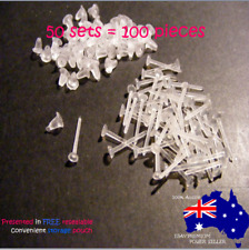 Clear plastic 3mm x 12mm x .08mm INVISIBLE Stud Earrings x 50 sets (100 pieces)