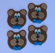 6 edible TEDDY BEAR FACES cake topper CUPCAKE DECORATIONS picnic baby shower