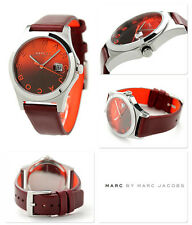 NEW MARC JACOBS SILVER TONE,DARK RED LEATHER BAND WATCH-MBM1319