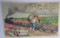 """ New Year, Railway, Children, Coins, Flowers "" 1909, Embossed Postcard (26079)"