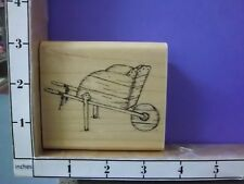 Country Wood Wheel Barrow Cart Garden  rubber stamps 30O
