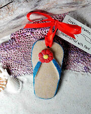 FLIPFLOP Red Turquoise Made with Sand Tropical Beach Ornamenbt