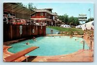 Fairfax, VA - ANCHORAGE MOTEL ROADSIDE POSTCARD - POOL & WOOD CABINS - C3