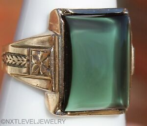 Antique Art Deco Green Sapphire Cabochon Hand Engraved 10k Solid Gold Men's Ring