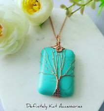 Large copper wire wrapped tree of life turquoise quartz stone sweater necklace