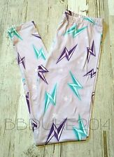 Flash Lightning Leggings Purple Pastel Super Soft! Graphic Women OS 2-10 NEW