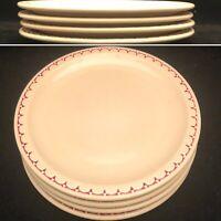 "Syracuse China Cardinal Red Econo-Rim Beige Dinner Plate 4 Piece set USA 9 1/2"""