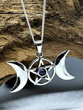 More details for triple moon amethyst pentacle goddess 925 silver & 18