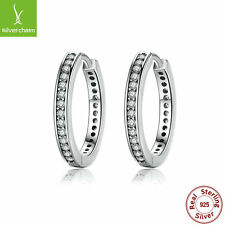 Authentic 925 Sterling Clear CZ Zircon Round Earrings For Female Fashion Jewelry