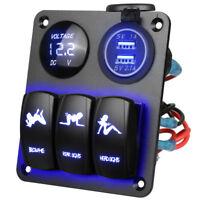 12V/24V Car Boat 3 Gang Circuit Switch Panel Breaker LED Voltmeter 2 USB Charger