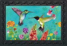 """Hummingbird Greeting Spring Doormat Floral Indoor Outdoor 18"""" x 30"""""""