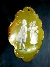 C.1890's Victorian Bridge Tally Lovely Art Nouveau Die Cut Embossed Couple