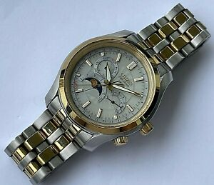 Vintage Citizen Eco-Drive Moon phase perpetual date mens watch, cal. 8651