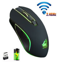 2.4GHz Wireless Mouse Rechargeable Silent LED Backlit Gaming Mice for PC Laptop~