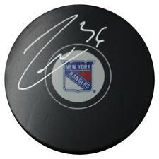 Mats Zuccarello New York Rangers Signed logo Puck Steiner Sports Certified