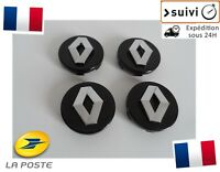 4x Cache Moyeu Jante Centre Roue Enjoliveur Logo insigne Renault 60mm Neuf Noir