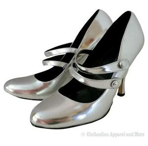 Women's 8.5 Shoes 4.5 Stiletto Heels Strappy Silver Metallic Costume New Years