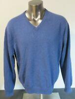 Mens Club Room Blue Solid Crewneck Estate Cashmere Sweater Size L Long Sleeve