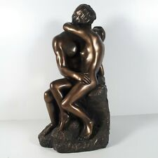 Nude Bronzed Sculpture Statue Signed O Tupton Kissing Lovers Man Woman