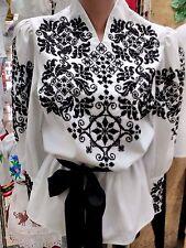 Vyshyvanka Ukrainian Hand Embroidered Beaded Blouse  Women's Handmade  Folk New