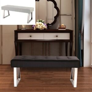 Dining Bench Long Seat Chair White Black Faux Leather Lounge Stool Base Steel