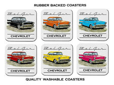 57' Chevy Coupe Chevrolet Set of 6 Rubber Drink Coasters
