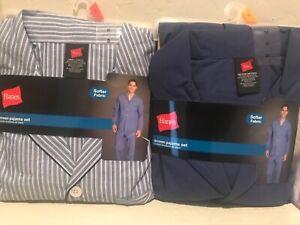 New Hanes Men's Long Sleeve Woven Pajama Sleepwear Lounge Set S, M, L, XL, & XXL
