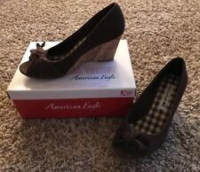 America Eagle Brown Women's Wedge Shoes 8 1/2 ~ Cute Women's 8.5 Shoes ~ AE Shoe