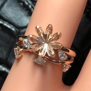 Natural Diamond Semi Mount Wedding Ring Settings Round 9.0mm Solid 18K Rose Gold