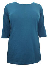 EX YOURS PLUS SIZE BLACK, NAVY & TEAL COTTON TOP 16 18 20 22 24 26 28 - NEW