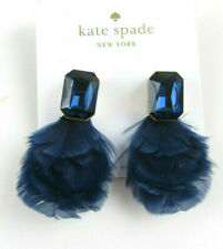 Kate Spade New York Blue Feather and Crystal Drop Earrings