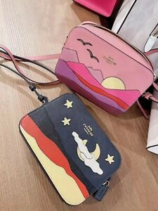 NWT Coach Mini Camera Bag With Night Desert Postcard / Popsicle Print/ Mountain