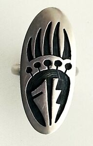 OLD VINTAGE STERLING BEAR PAW HOPI OVERLAY RING-CLIFTON MOWA-LISTED ARTIST