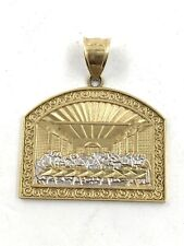 10k Two Tone Gold Last Supper Pendant For Necklace