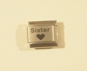 SISTER BLACK HEART Italian Charm - I Love my SIS fits Classic Starter Bracelets
