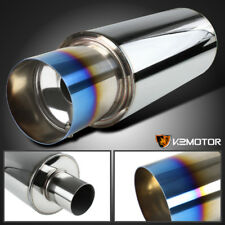 "4"" Racing Burnt Tip N1 Style Stainless Steel Exhaust Muffler w/Silencer +HP"