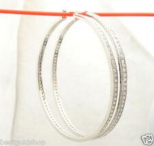 "2 3/4"" 70mm  Diamonique CZ Large Hoop Earrings Real 925 Sterling Silver"