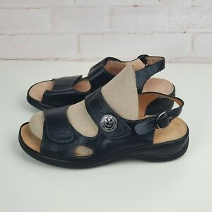 Homyped Homy Ped Womens Black Leather Sandals with Ankle Strap Size 7, 38 Casual