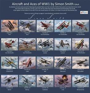 WW1 ACES postcards /Prints FOKKER DR1 DVII Albatros RICHTHOFEN McCudden Voss set