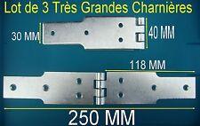 Lot 3 Charnières Géantes,Acier Zingué,,Long 250 mm,,Larg 40 mm,,Epaisseur 2,5 mm