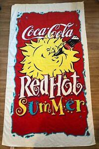 Coca Cola Coke Red hot Summer  Towel Vintage Rare VTG Summer 1992 Free Shipping