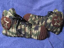 Crochet High Top Sneaker Slippers/Socks in Mens Camo and Brown - Handmade