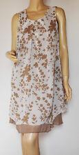 Ashley Brooke stylishes Zipfelkleid taupe/creme geblümt Gr.36 Neu