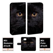 Handyhülle Tasche für Samsung Galaxy S6 mit Schwarz Katze Foto Text Bild Druck