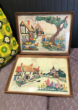 Vintage 1950's/60's Pictures Faux Embroidery Dog And Cat Floral Retro