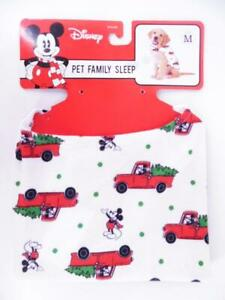 Disney Mickey Mouse Flannel Holiday Dog Pajamas - Red/White/Green Print - M