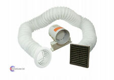 "4"" Inline Extractor Fan Timer - Full Kit - Ventilation for Bathroom Shower Brown"