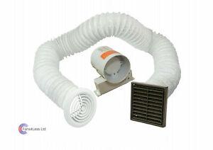 "4"" Inline Extractor Fan Timer - Full Kit - Ventilation for Bathroom Shower Brown"