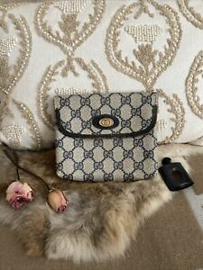 GUCCI GG Pouch Bag Purse Navy PVC Leather Italy Vintage Authentic USED❣️❣️